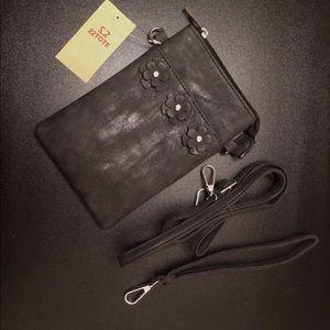 Black Mini Bag with Black & White Faded Design